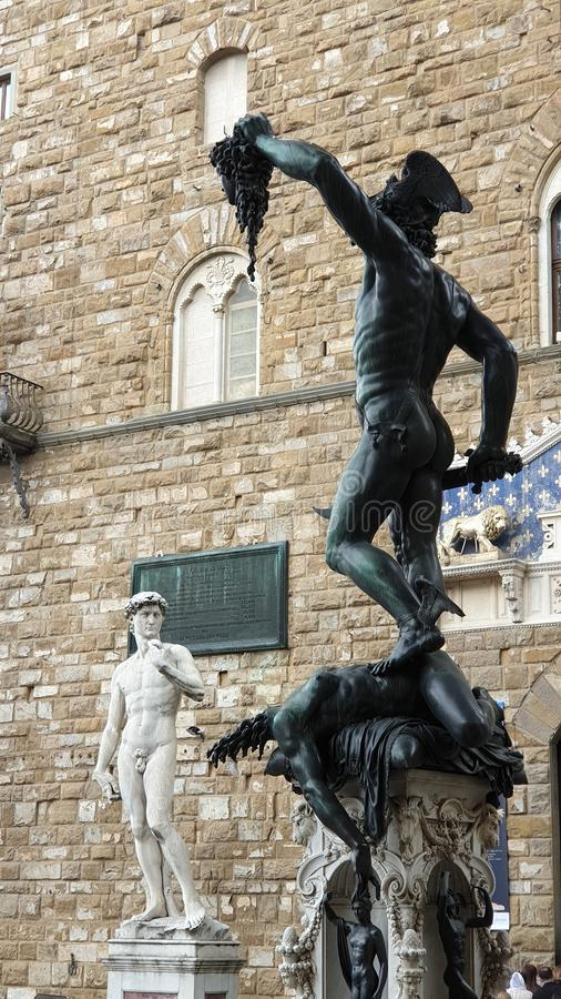Florence Signora Square Statues stock afbeelding
