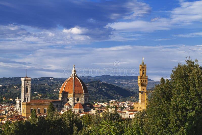 Florence sikt från trädgården av Boboli royaltyfria bilder