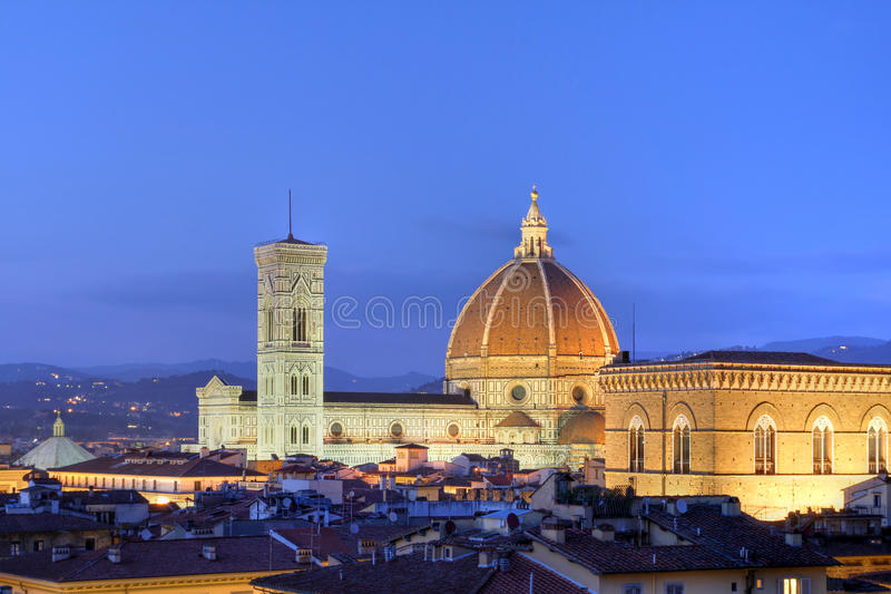 Florence skyline, Italy. Skyline at twilight of Florence, Italy dominated by the famous Duomo (Basilica of Saint Mary of the Flower). The dome of the church is a stock photos