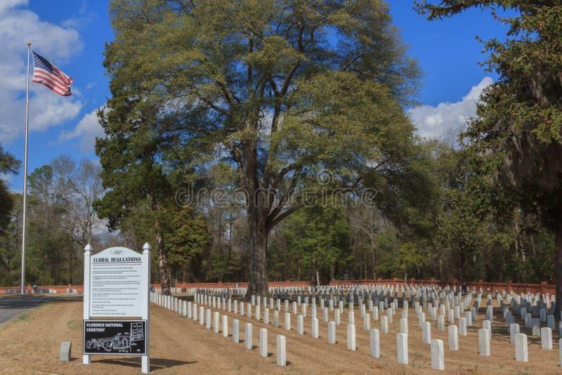 Florence South Carolina National Cemetery. Florence National Cemetery is located in the city of Florence, South Carolina and administrated by the United States royalty free stock photo