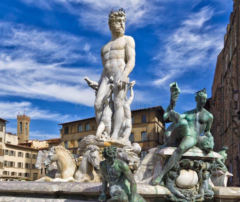 Florence springbrunn av Neptune arkivbilder