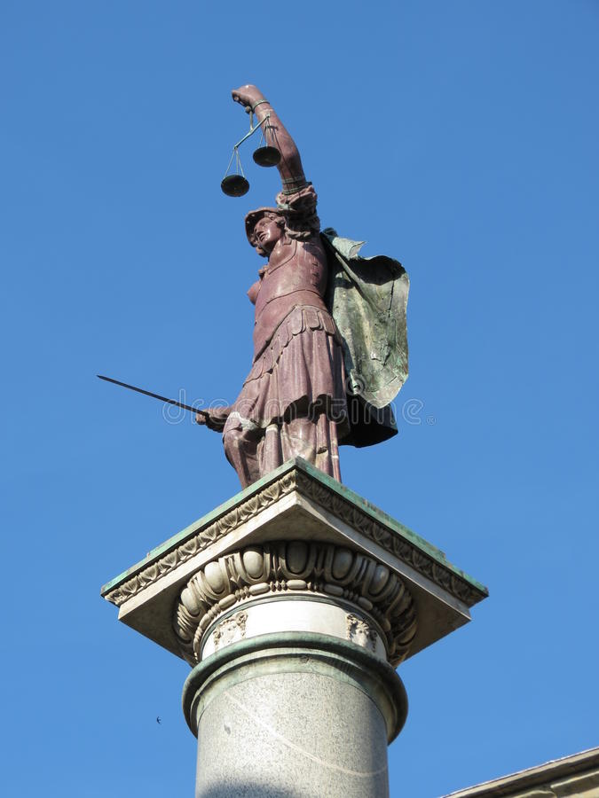 Florence, statue of Justice. (XVI century) over a Roman column in Piazza Santa Trinita (Holy Trinity square royalty free stock images
