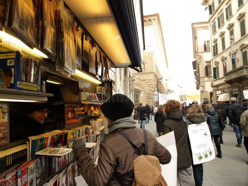 Florence streets life scene stock image