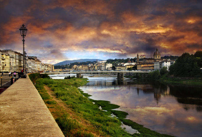 Florence and sunset stock photography