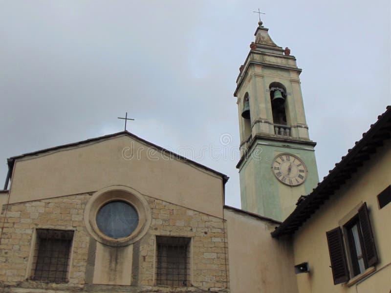 Florence, Toscani?, Itali? Kerk van San Biagio een Petriolo, voorgevel van het gebouw royalty-vrije stock foto's