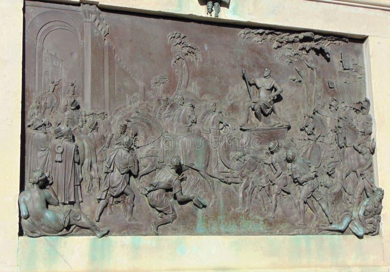 Florence Tuscany Italy, das Monument von Cosimo-dei Medici, Bild auf dem Monument lizenzfreies stockfoto