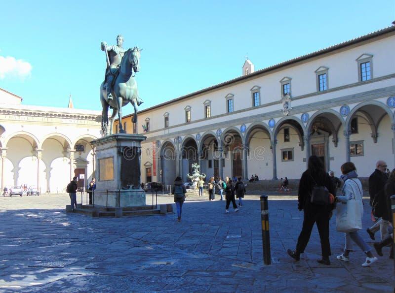 Florence Tuscany Italy, piazza Santissima Annunziata immagine stock libera da diritti