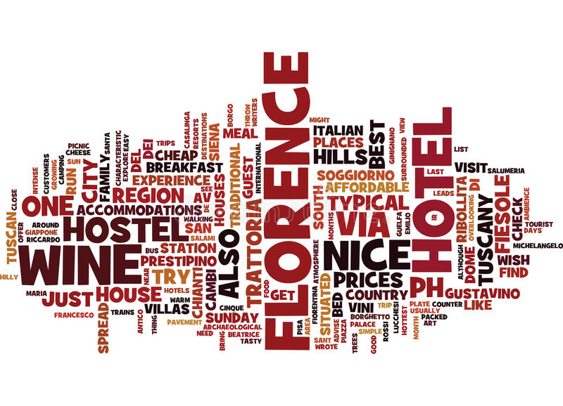 Florence Typical Trattorias And Outside Trips Text Background Word Cloud Concept stock illustration