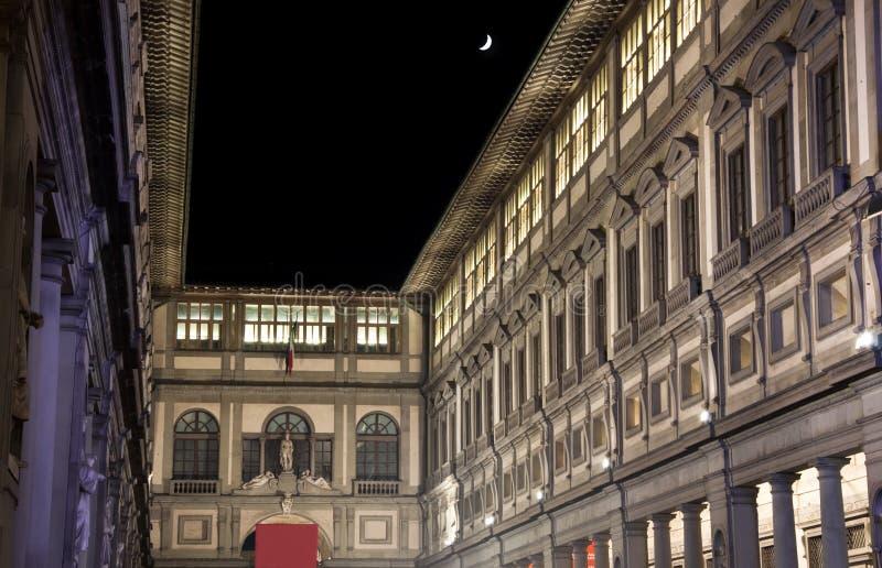 Florence Uffizi Museum Gallery at Night stock images