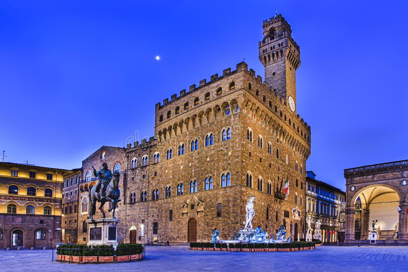 Florence Vecchio Square Dawn stock afbeeldingen