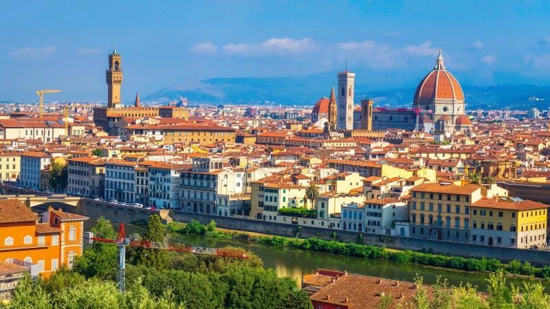 florence W?ochy Firenze śródmieście Malowniczy widok na Florencja od Michelangelo kwadrata obrazy stock
