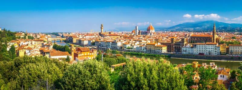 florence W?ochy Panoramiczny krajobraz Firenze na słonecznym dniu Sceniczny widok na Florencja mieście od Piazzale Michelangelo zdjęcia stock