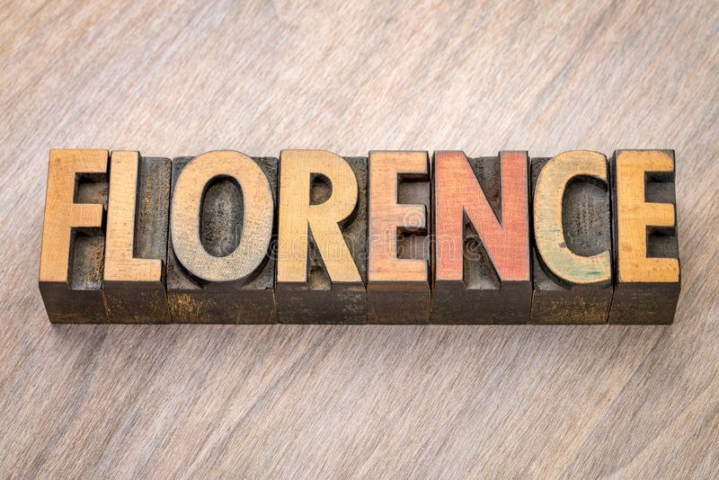 Florence word abstract in wood type royalty free stock images