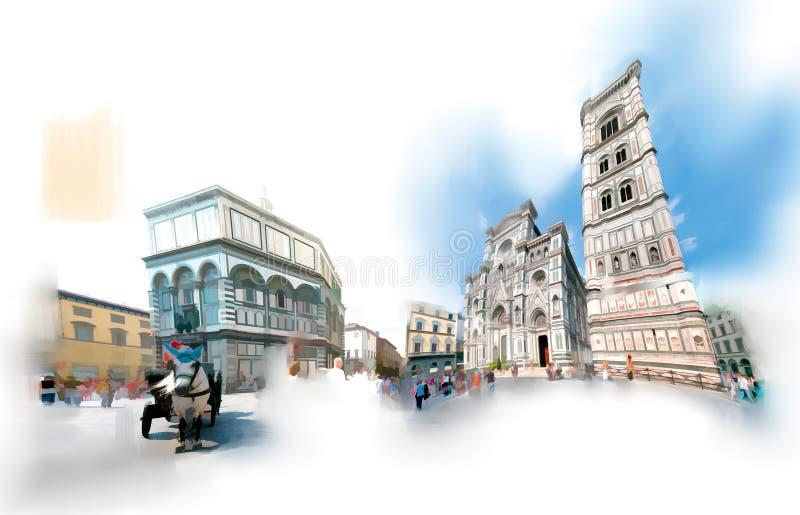 Florencia, el cuadrado del duomo stock de ilustración