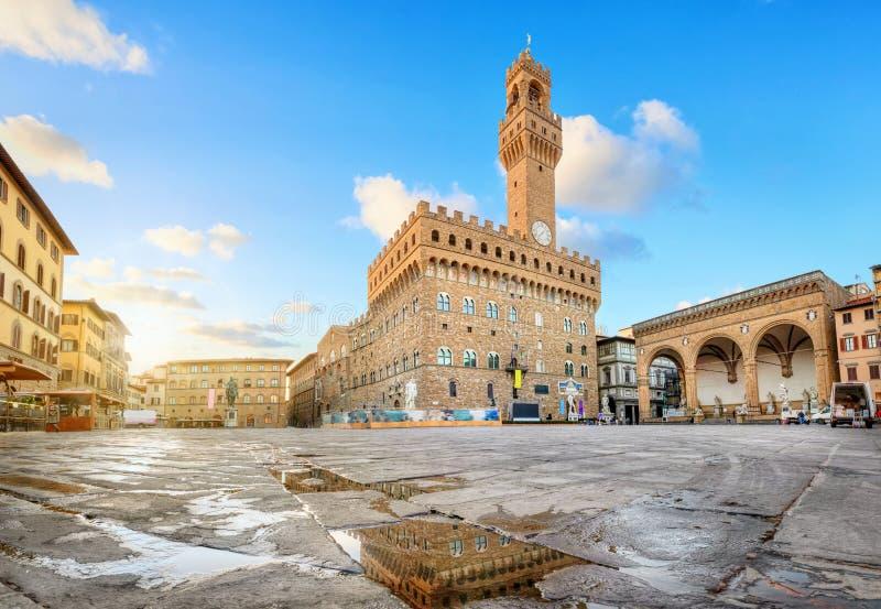 Florencia, Italia Cuadrado de Signoria del della de la plaza imagen de archivo libre de regalías