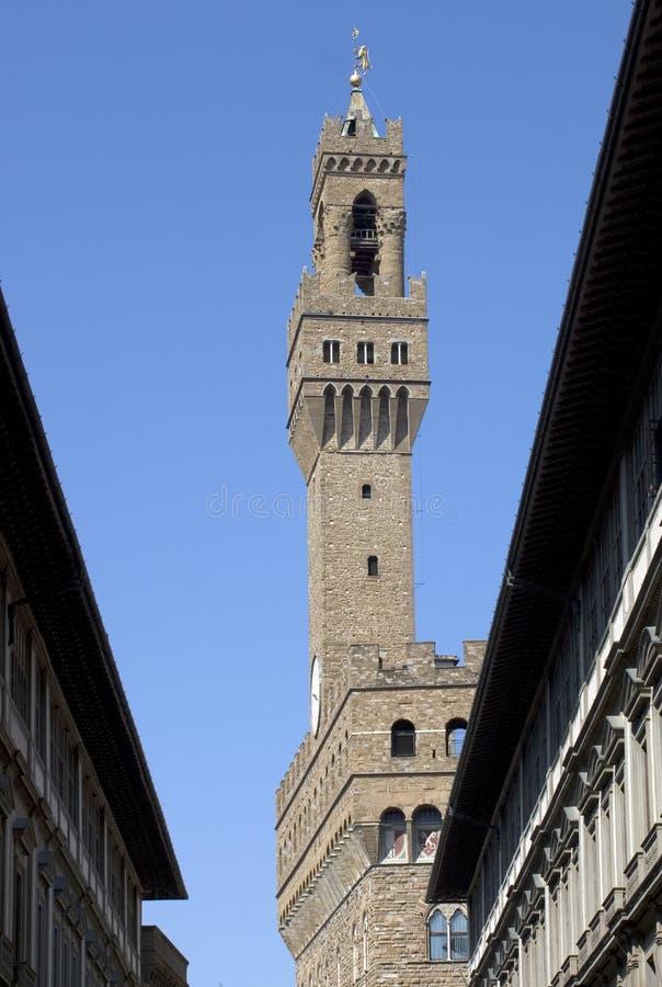 Florencia - Palazzo Vecchio y galería de Uffizi fotografía de archivo libre de regalías