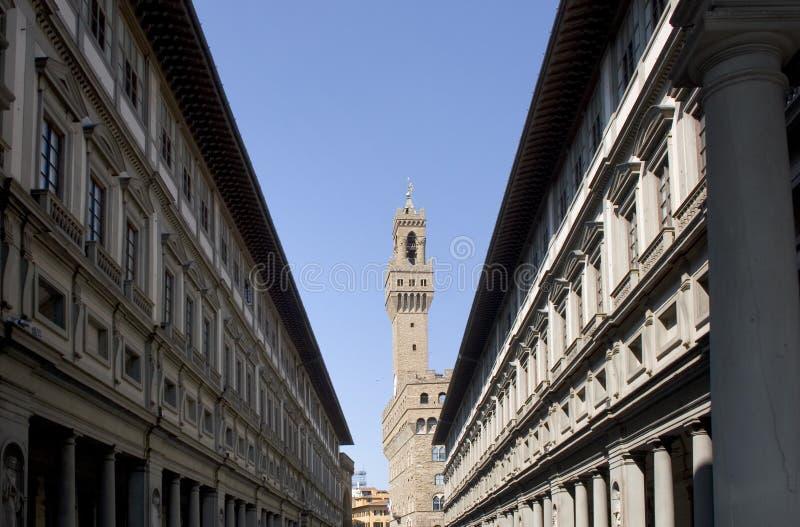 Florencia - Palazzo Vecchio y galería de Uffizi foto de archivo libre de regalías