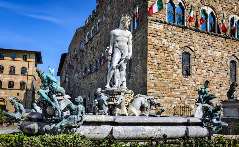 Florencja, fontanna Neptune fotografia stock
