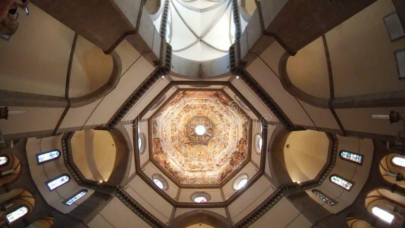Florencja katedra, Florencja, sufit, daylighting, oświetlenie, ekranizuje strzał zdjęcie stock