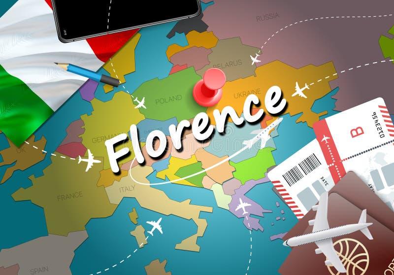Florencja miasta podróż i turystyki miejsce przeznaczenia pojęcie szklany Włochy dostępne bandery stylu wektora ilustracja wektor