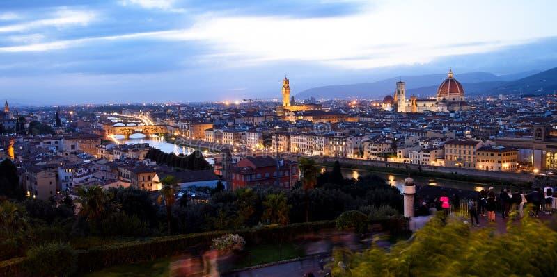 Florencja przy nocą w jesieni obraz royalty free