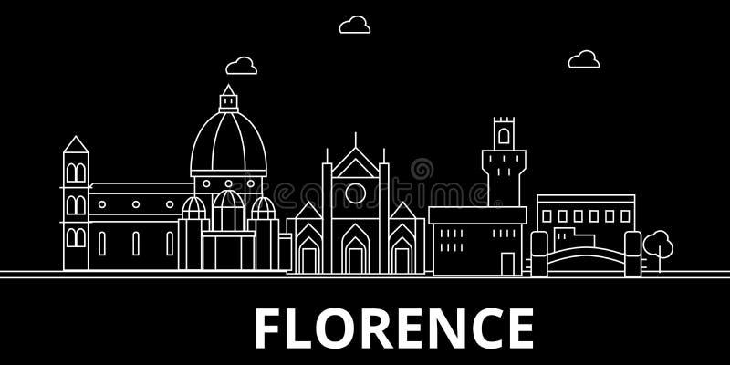 Florencja sylwetki linia horyzontu Włochy, Florencja wektorowy miasto -, włoska liniowa architektura, budynki Florencja podróż ilustracji