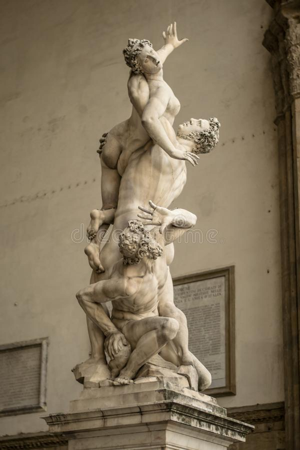 Florencja, Włochy - 23 Kwiecień, 2018: statuy zbliżają loggii dei Lanzi zdjęcie stock
