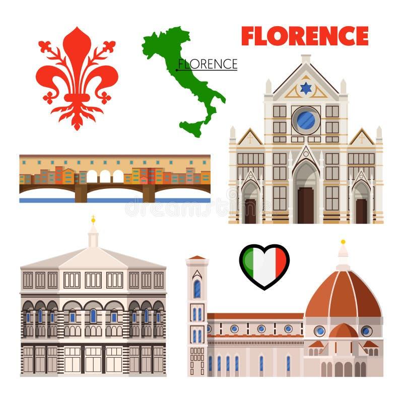 Florencja Włochy podróży Doodle z architekturą, mapą i flaga, ilustracja wektor