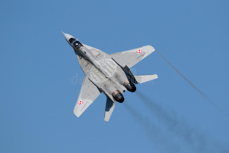 MiG-29 Fulcrum fighter jets. FLORENNES, BELGIUM - JUN 15, 2017: Polish Air Force MiG-29 Fulcrum fighter jet flying over the Florennes Airbase stock photos