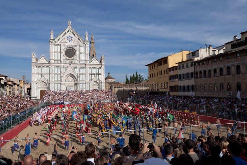 florentine modig kick för calciofiorentino fotografering för bildbyråer