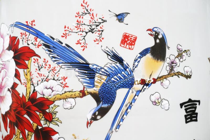 Florero chino pintado de la porcelana fotografía de archivo libre de regalías