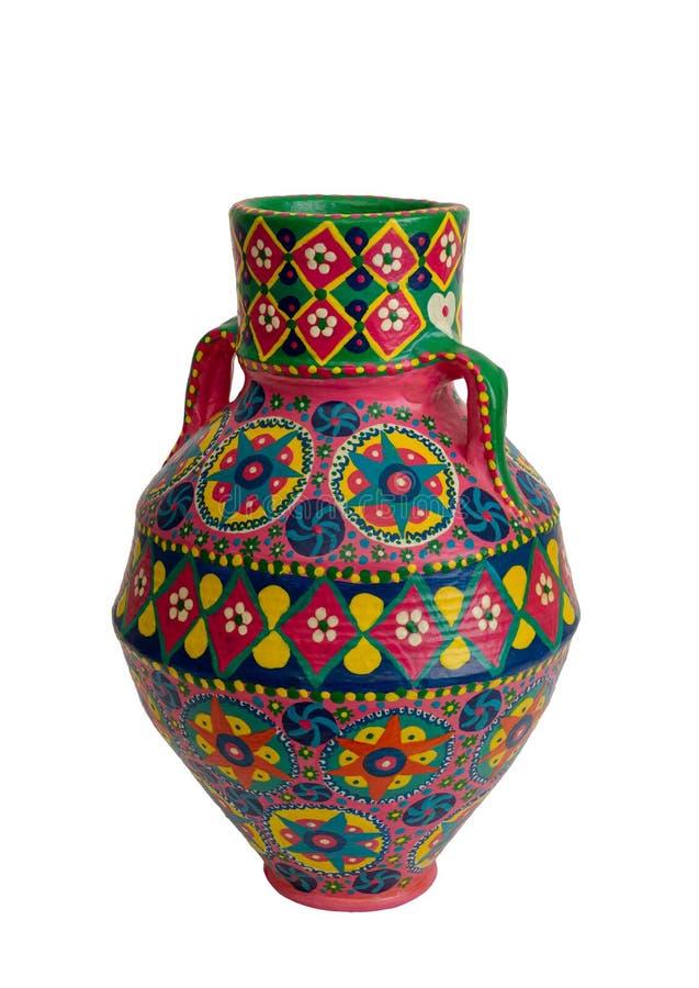 Florero colorido dolido artístico hecho a mano de la cerámica aislado en blanco fotos de archivo libres de regalías