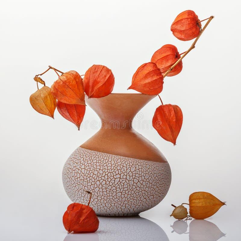 Florero con las flores anaranjadas imágenes de archivo libres de regalías