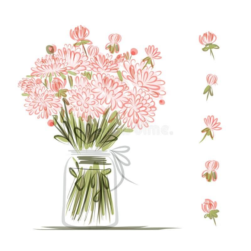 Florero con las flores rosadas, bosquejo para su diseño ilustración del vector