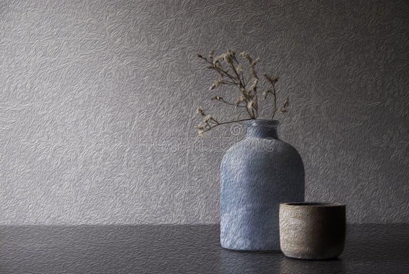 Florero con mirada retra de la hierba secada y de la luz pilota foto de archivo libre de regalías