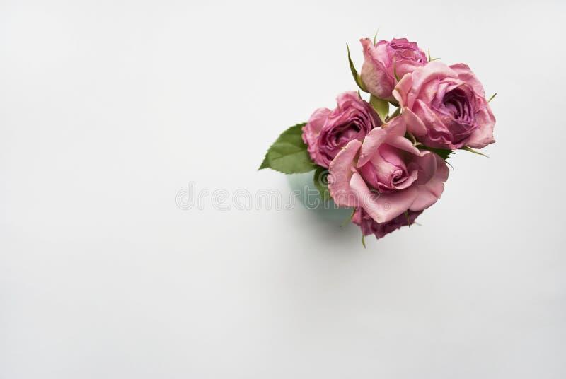 Florero con un ramo de rosas rosadas en un fondo blanco con el lugar para su texto Endecha plana imagenes de archivo