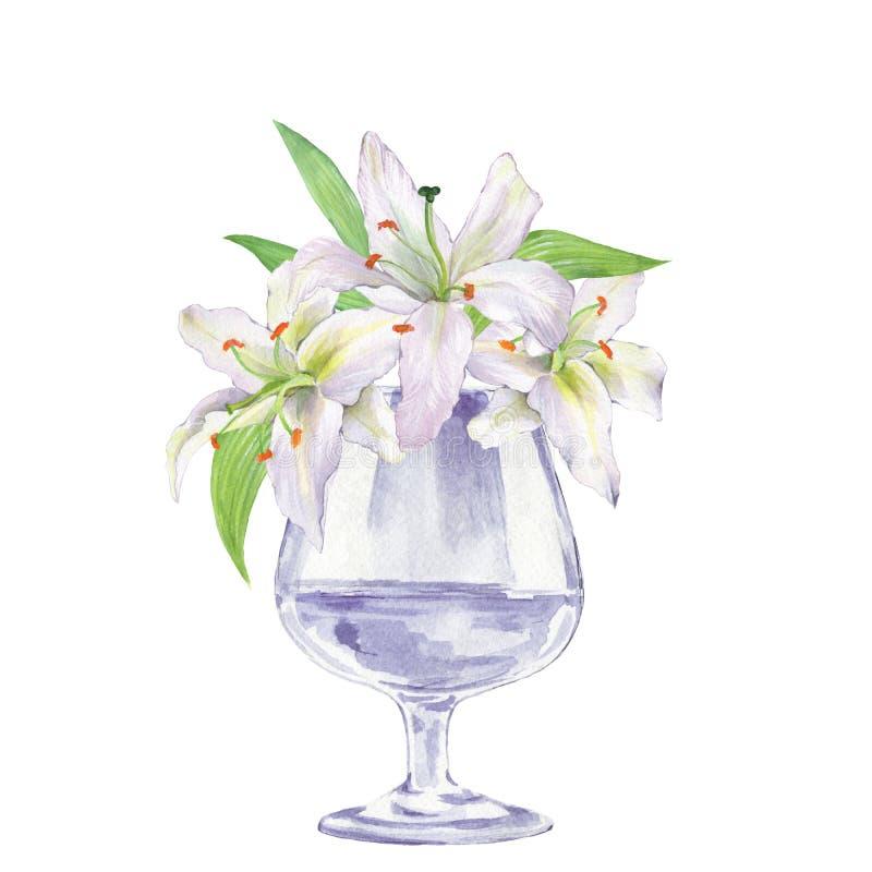 Florero de cristal con las flores Lirios 1 ilustración del vector