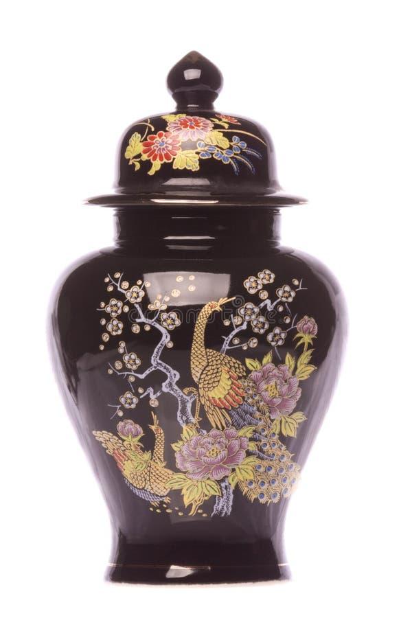 Florero pintado chino aislado foto de archivo