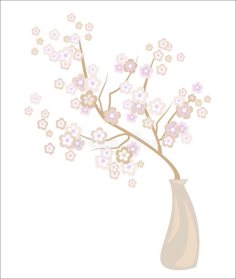 Florero romántico con una flor de cerezo delicada Pétalos exquisitos y fragancia floral delicada Decoración de una tabla festiva  stock de ilustración
