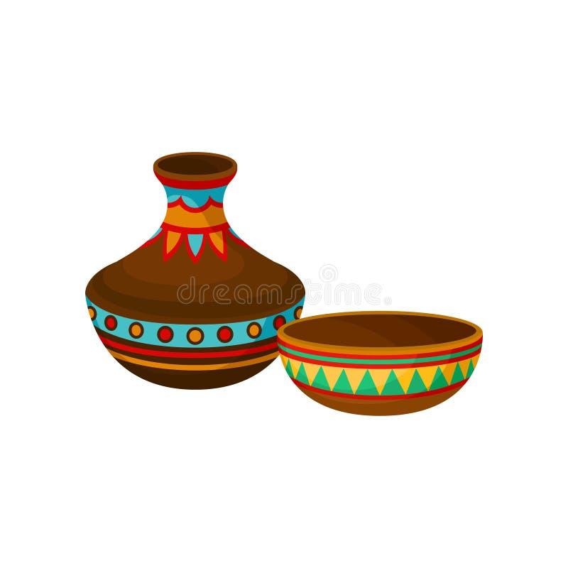 Florero y cuenco de cerámica, símbolo auténtico de África con el ejemplo étnico del vector del ornamento en un fondo blanco libre illustration