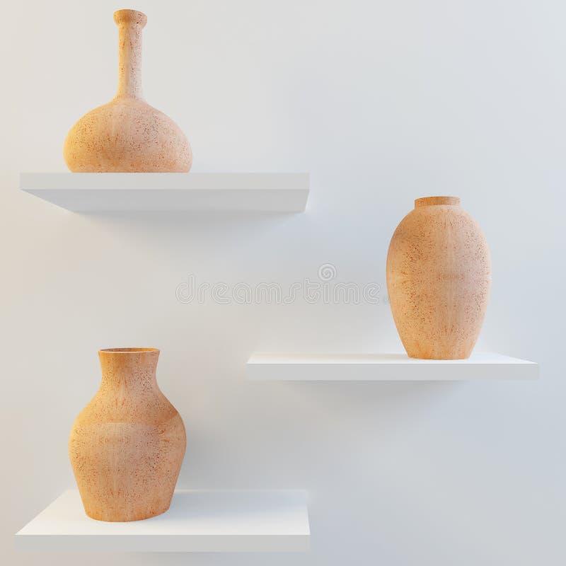 Floreros de cerámica rojos en el estante ilustración del vector