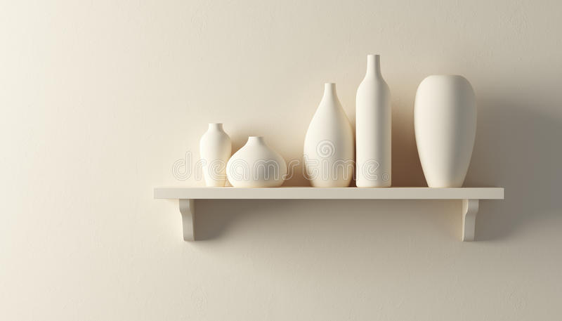 Floreros de la cerámica en el estante stock de ilustración