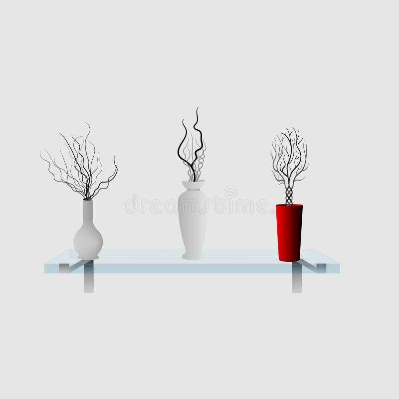 Floreros decorativos en un estante de cristal ilustración del vector