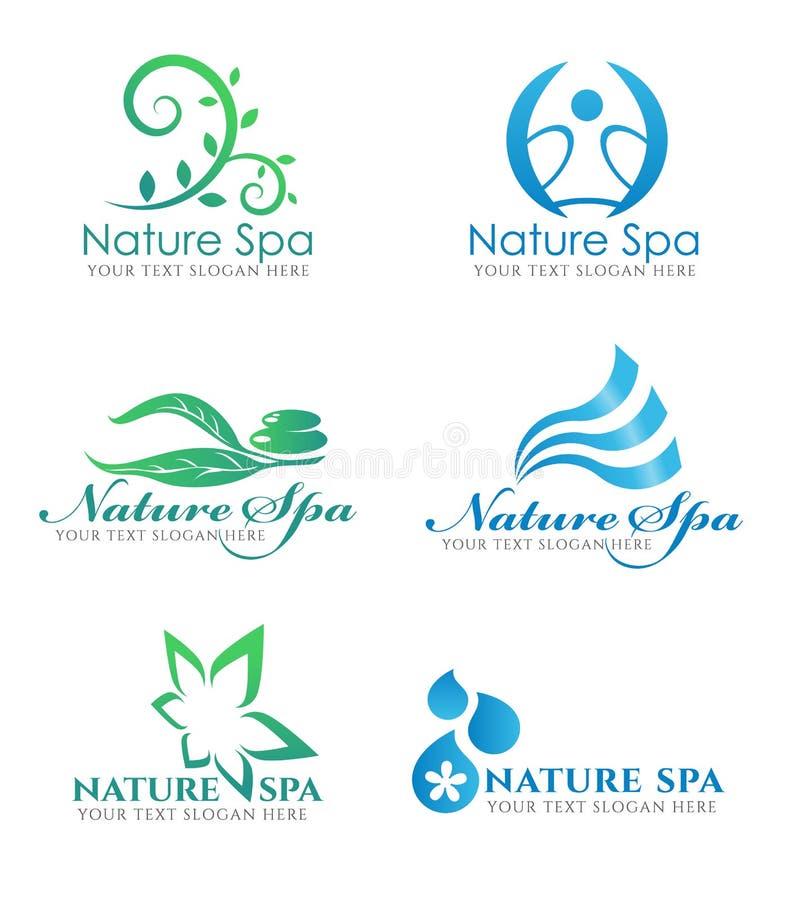 Floresça a cenografia do vetor do logotipo da folha e do logotipo da onda de água para o negócio natural do salão de beleza dos t ilustração do vetor