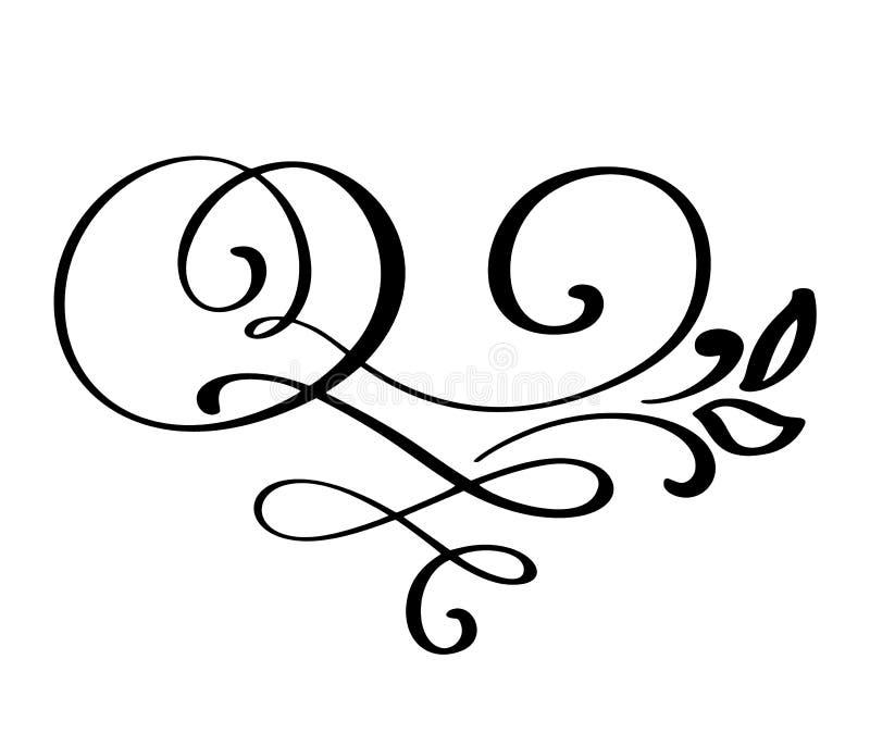 Floresça a decoração ornamentado do redemoinho para o estilo aguçado da caligrafia da tinta da pena Flourishes da pena Para o grá ilustração royalty free