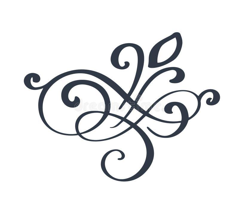 Floresça a decoração ornamentado do redemoinho para o estilo aguçado da caligrafia da tinta da pena Flourishes da pena Para o grá ilustração stock