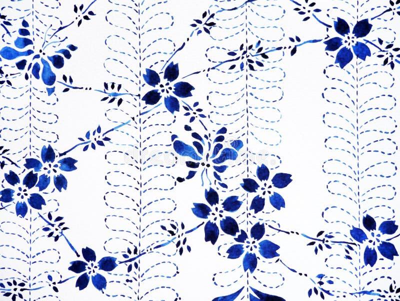 Floresça, estilo japonês tirado da pintura da aquarela da borboleta mão mínima ilustração stock