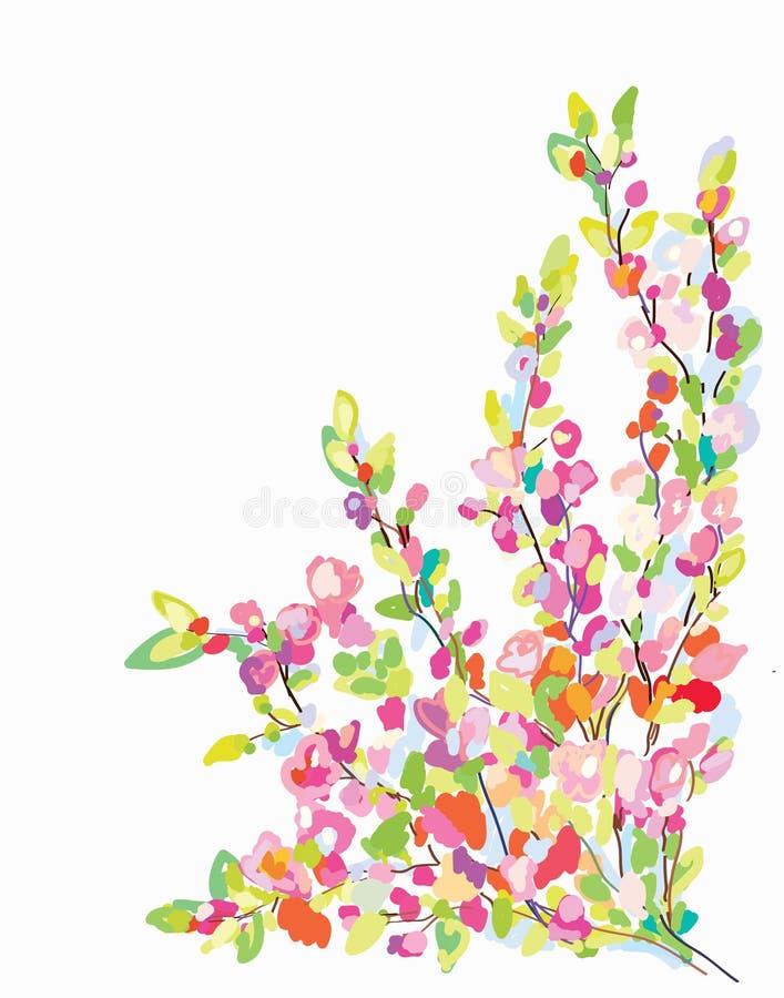 Floresça o cartão da beira para o cartão - entregue tirado ilustração stock