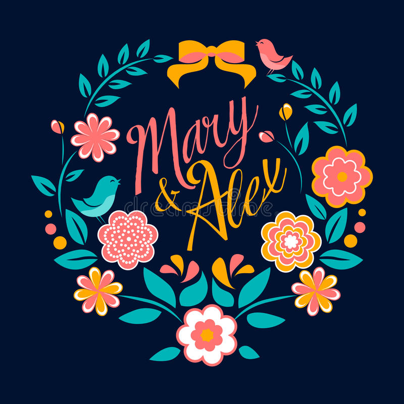 Floresça o cartão, a Mary e o Alex do convite do casamento ilustração royalty free