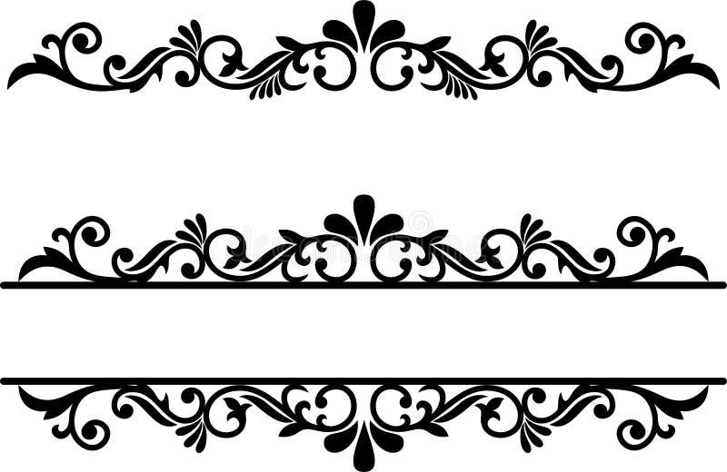 Floresça o elemento, divisores alinham, beira decorativa, traço extravagante ilustração royalty free